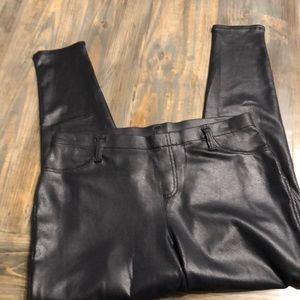 Black Faux Leather Skinny Pants. Large (12-14) New
